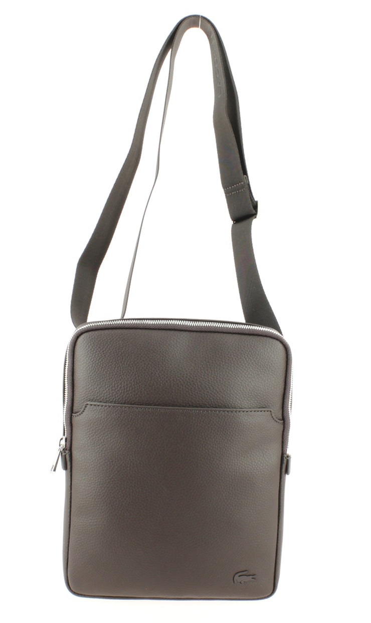 Sacoche LACOSTE Large Flat Crossover Bag Marron face