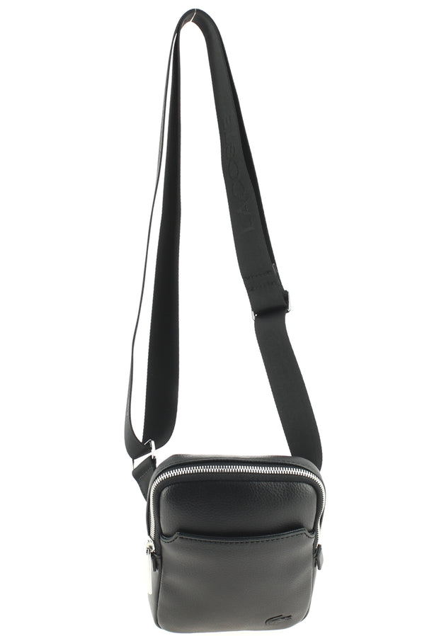 Sacoche LACOSTE Medium Flat Crossover Bag Black face anse