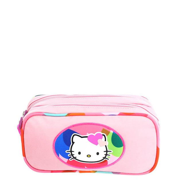Trousse Hello Kitty 2 compartiments Rose face