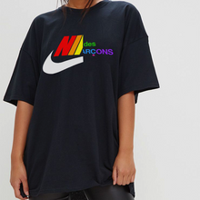 Load image into Gallery viewer, Comme Des Swoosh Tee - Rainbow - Black