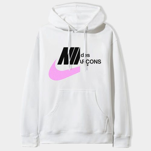 Comme Des Swoosh Hoodie in White