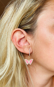 Pink Rhinestone Butterfly Earrings