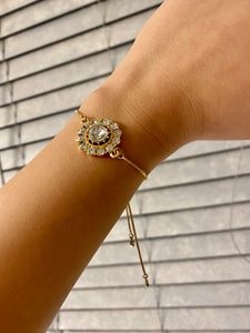 Rhinestone Pendant Adjustable Bracelet