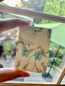 Silver and Blue Accent Butterfly Earrings