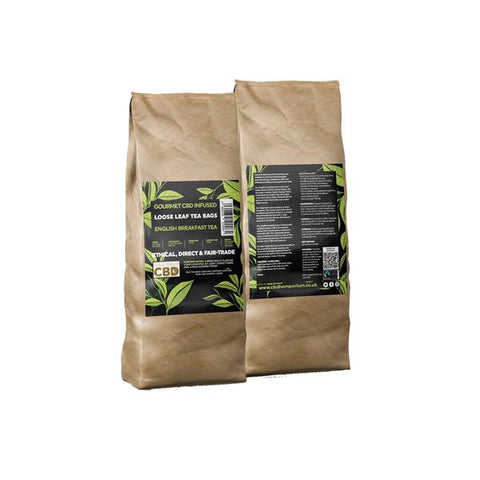 Equilibrium CBD Gourmet Loose 100 Tea Bags Bulk 340mg CBD - English Breakfast Tea