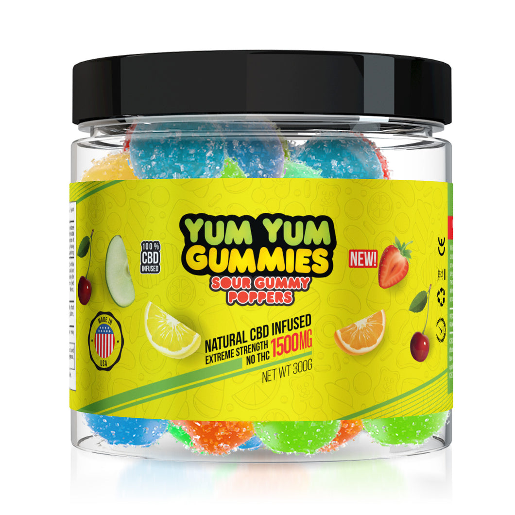 Yum Yum Gummies CBD Sour Poppers - 1500mg