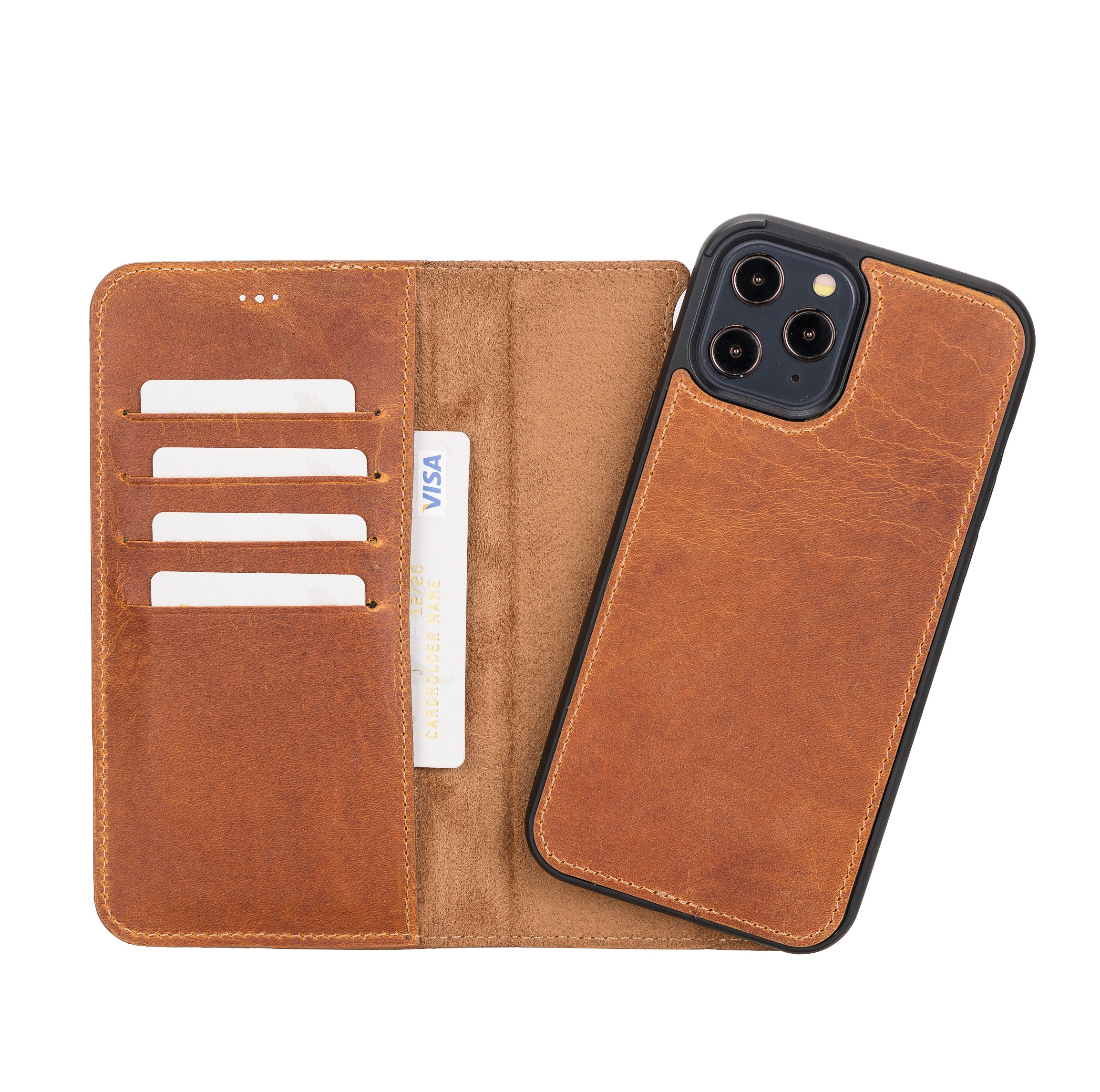 "Magic Magnetic Detachable Leather Wallet Case for iPhone 12 Pro Max (6.7"") - TAN - saracleather"