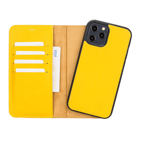 "Magic Magnetic Detachable Leather Wallet Case for iPhone 12 Pro Max (6.7"") - YELLOW - saracleather"