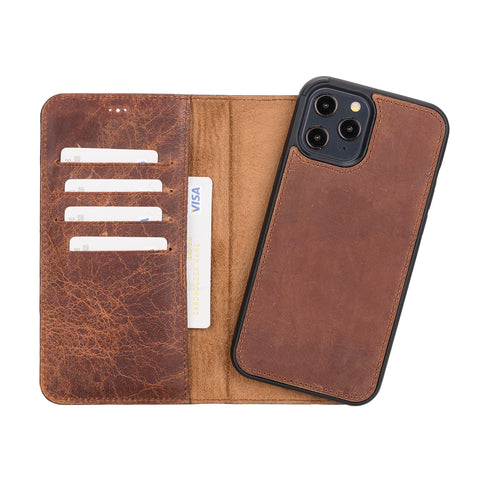 "Magic Magnetic Detachable Leather Wallet Case for iPhone 12 Pro Max (6.7"") - BROWN"