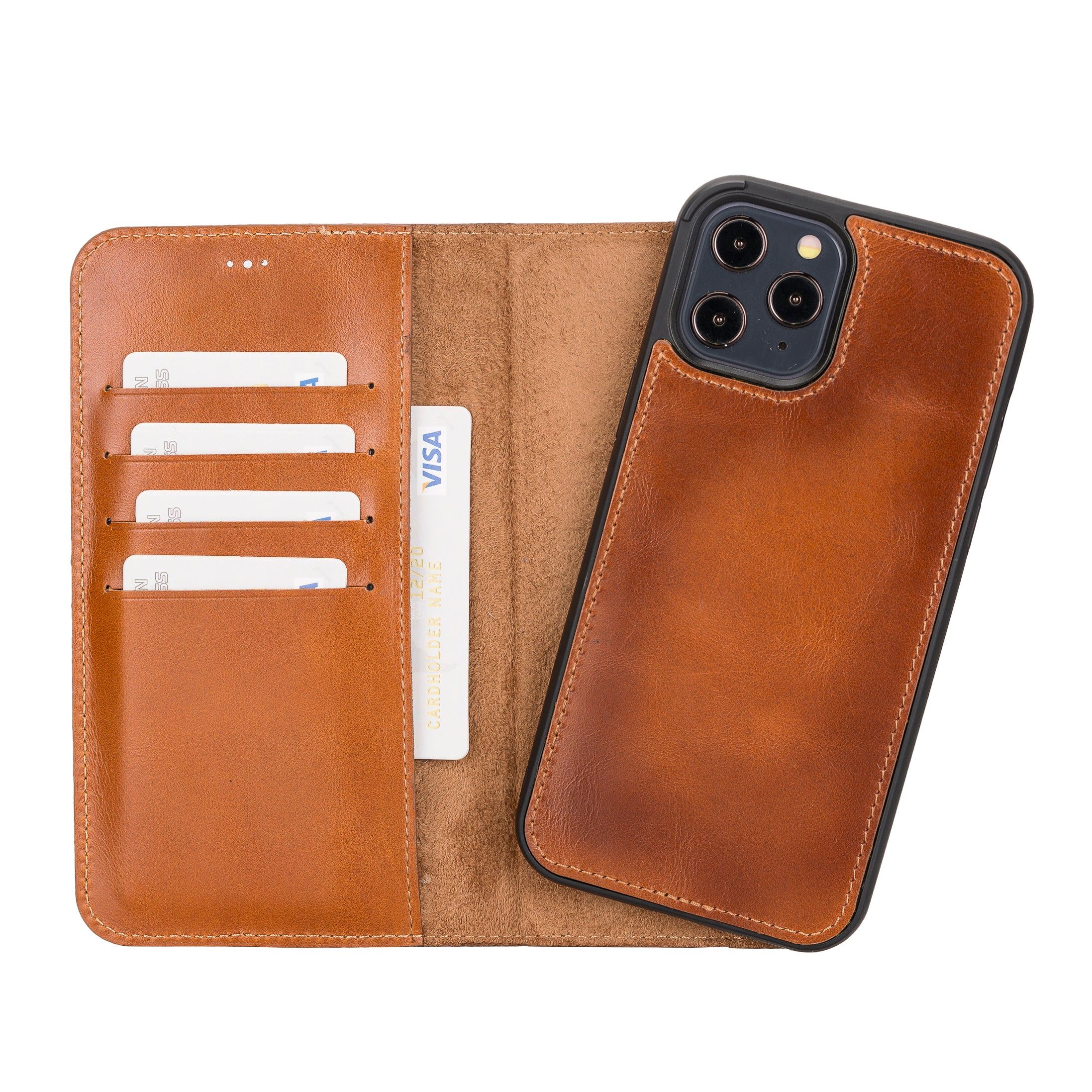 "Magic Magnetic Detachable Leather Wallet Case for iPhone 12 Pro Max (6.7"") - EFFECT BROWN - saracleather"