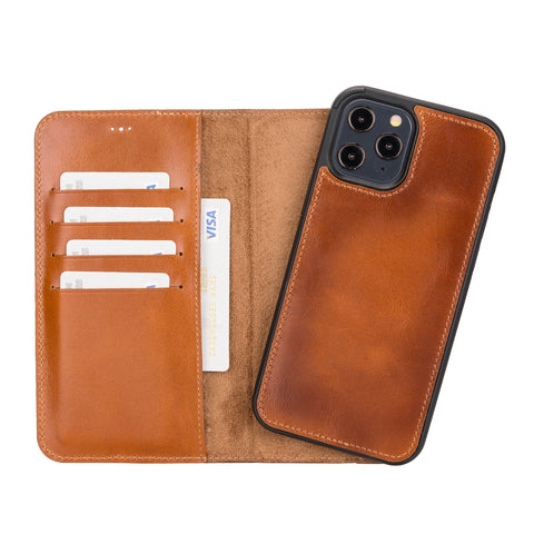 "Magic Magnetic Detachable Leather Wallet Case for iPhone 12 Pro Max (6.7"") - EFFECT BROWN"