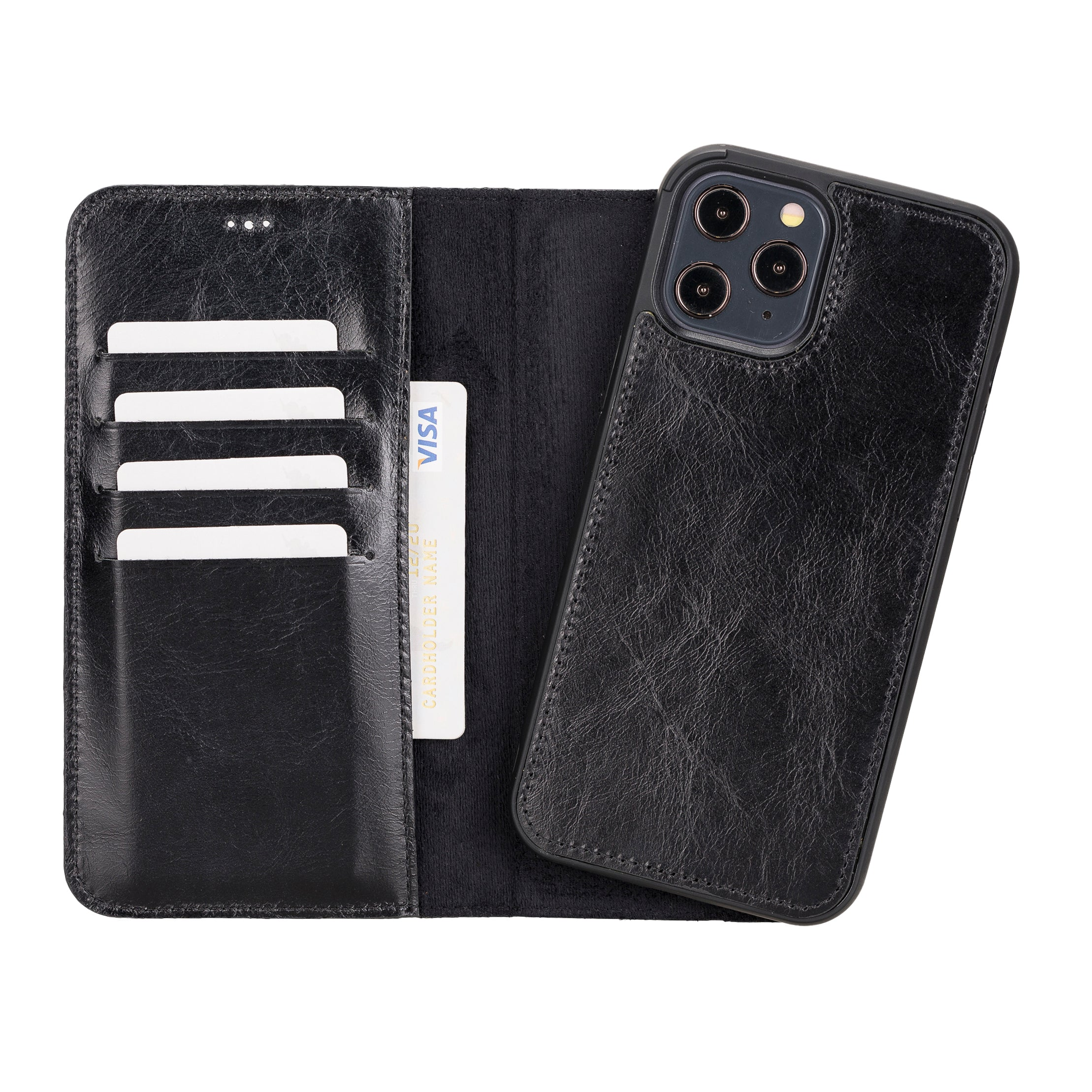 "Magic Magnetic Detachable Leather Wallet Case for iPhone 12 Pro Max (6.7"") - BLACK - saracleather"