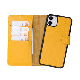 "Magic Magnetic Detachable Leather Wallet Case for iPhone 11 (6.1"") - YELLOW - saracleather"
