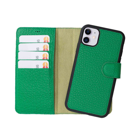 "Magic Magnetic Detachable Leather Wallet Case for iPhone 11 (6.1"") - GREEN - saracleather"