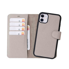 "Magic Magnetic Detachable Leather Wallet Case for iPhone 11 (6.1"") - GRAY - saracleather"