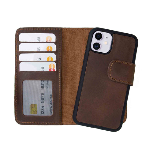 "Liluri CC Magnetic Detachable Leather Wallet Case for iPhone 11 (6.1"") - BROWN - saracleather"
