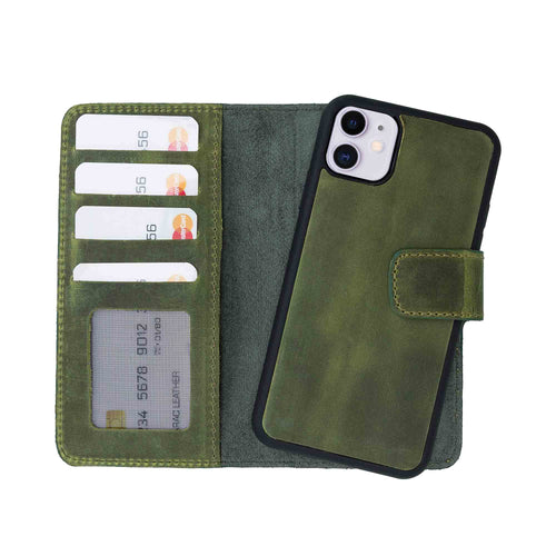 "Liluri Magnetic Detachable Leather Wallet Case for iPhone 11 (6.1"") - GREEN - saracleather"