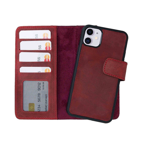 "Liluri Magnetic Detachable Leather Wallet Case for iPhone 11 (6.1"") - RED - saracleather"