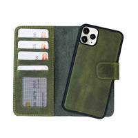 "Liluri Magnetic Detachable Leather Wallet Case for iPhone 11 Pro (5.8"") - GREEN - saracleather"