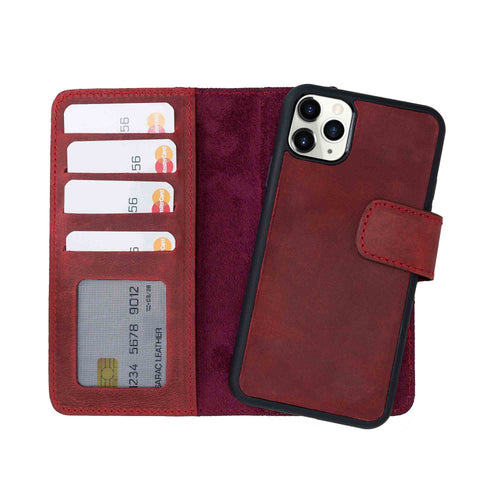"Liluri Magnetic Detachable Leather Wallet Case for iPhone 11 Pro Max (6.5"") - RED - saracleather"