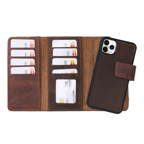 "Santa Magnetic Detachable Leather Tri-Fold Wallet Case for iPhone 11 Pro (5.8"") - BROWN - saracleather"