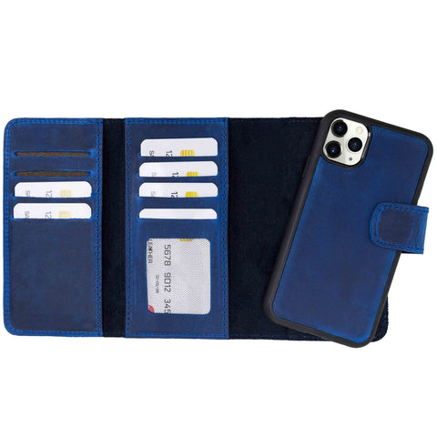 "Santa Magnetic Detachable Leather Tri-Fold Wallet Case for iPhone 11 Pro Max (6.5"") - BLUE - saracleather"