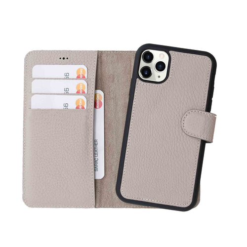 "Magic Magnetic Detachable Leather Wallet Case for iPhone 11 Pro (5.8"") - GRAY - saracleather"