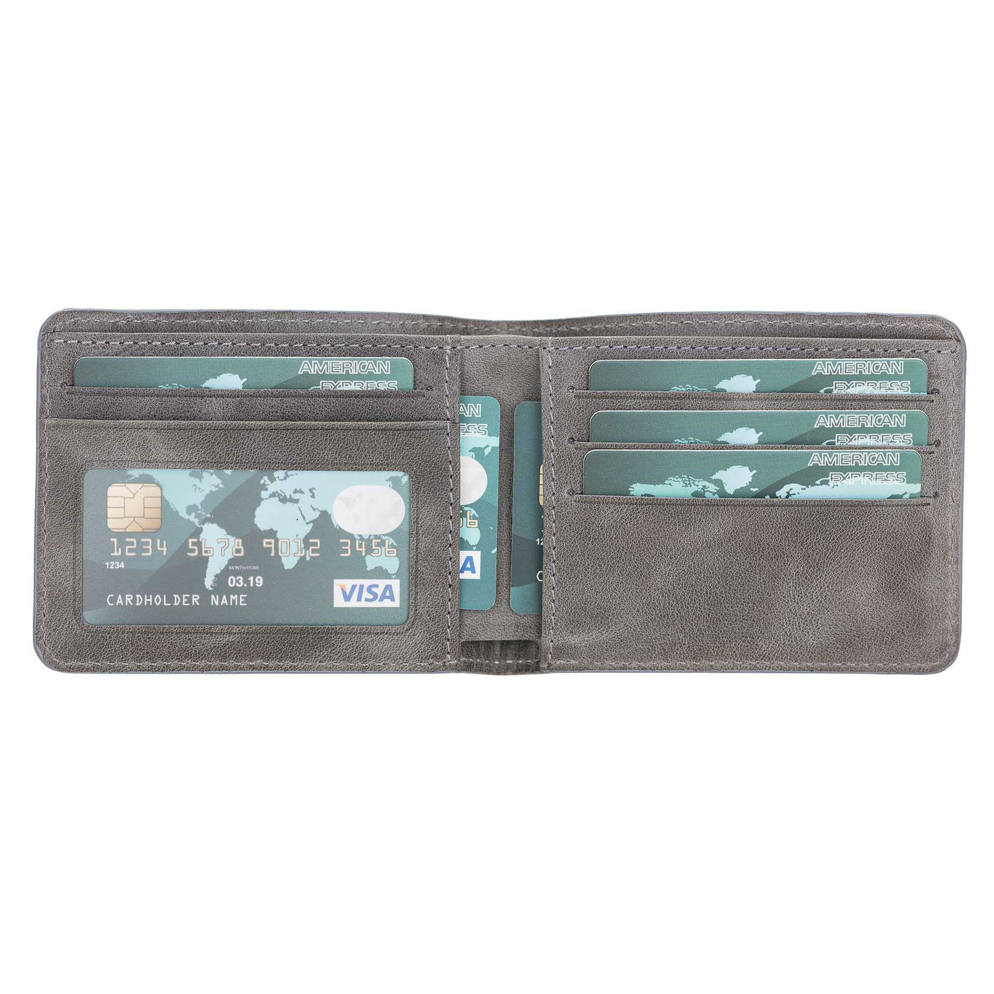 Pier Leather Men's Bifold Wallet - EFFECT GRAY - saracleather