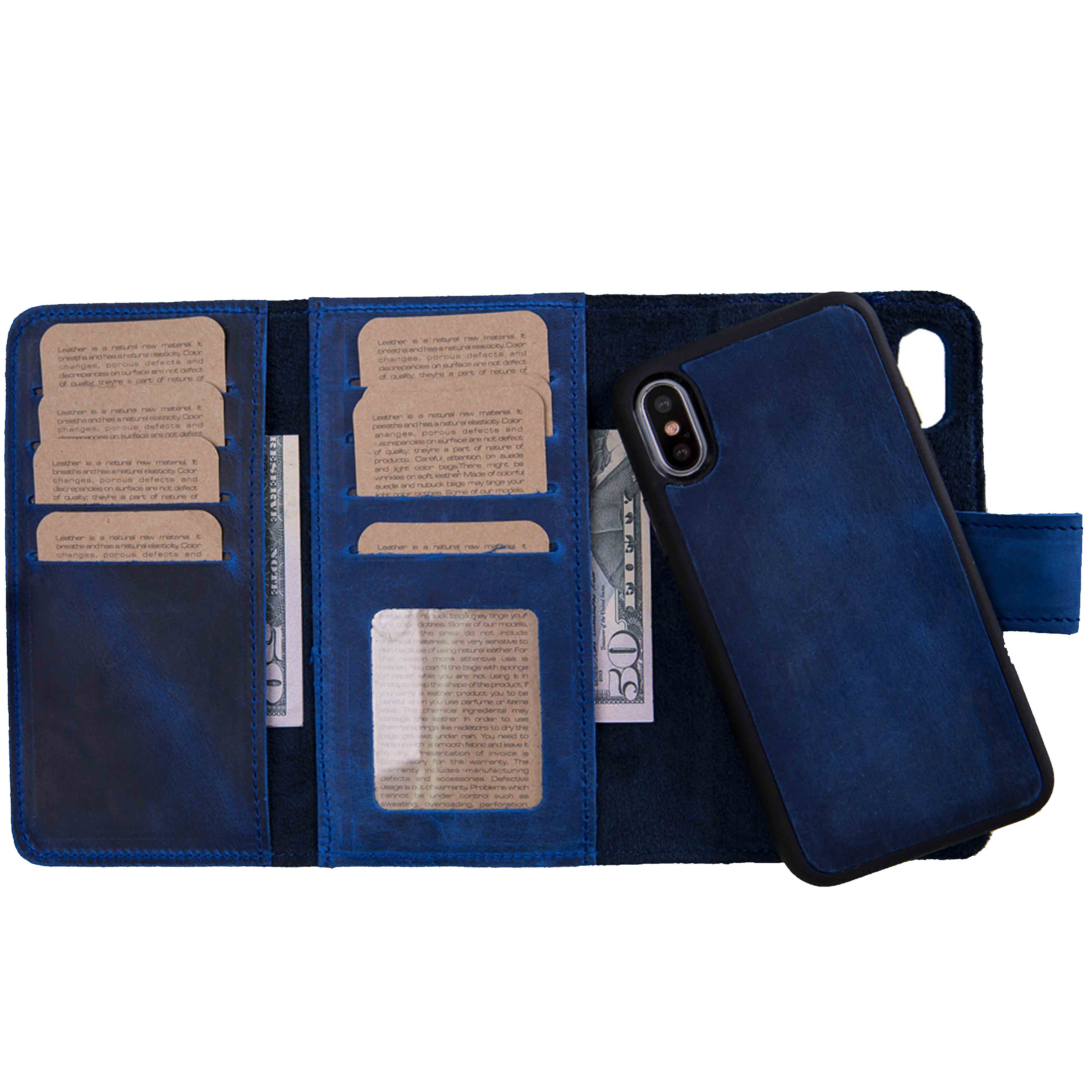 "Santa Magnetic Detachable Leather Tri-Fold Wallet Case for iPhone XS Max (6.5"") - BLUE - saracleather"