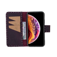 "Flora Leather Wallet Case for iPhone XS Max (6.5"") - PURPLE - saracleather"