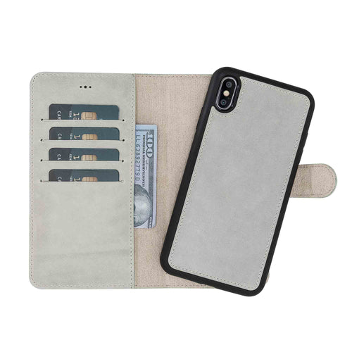 "Magic Magnetic Detachable Leather Wallet Case for iPhone XS Max (6.5"") - WATER GREEN - saracleather"