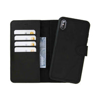 "Magic Magnetic Detachable Leather Wallet Case for iPhone XS Max (6.5"") - MATT BLACK - saracleather"