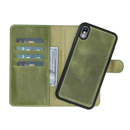 "Magic Magnetic Detachable Leather Wallet Case for iPhone XS Max (6.5"") - GREEN - saracleather"