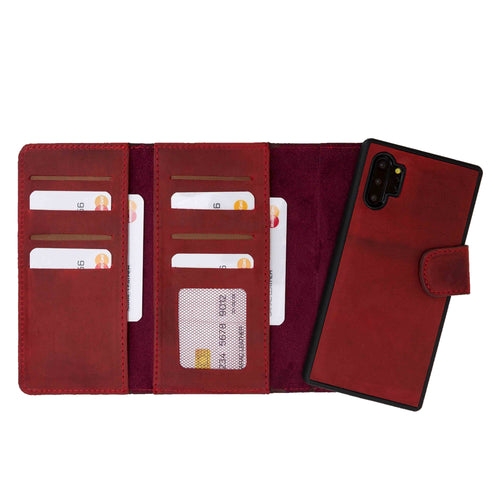 Santa Magnetic Detachable Leather Tri-Fold Wallet Case for Samsung Galaxy Note 10 / Note 10 Plus 5G - RED - saracleather