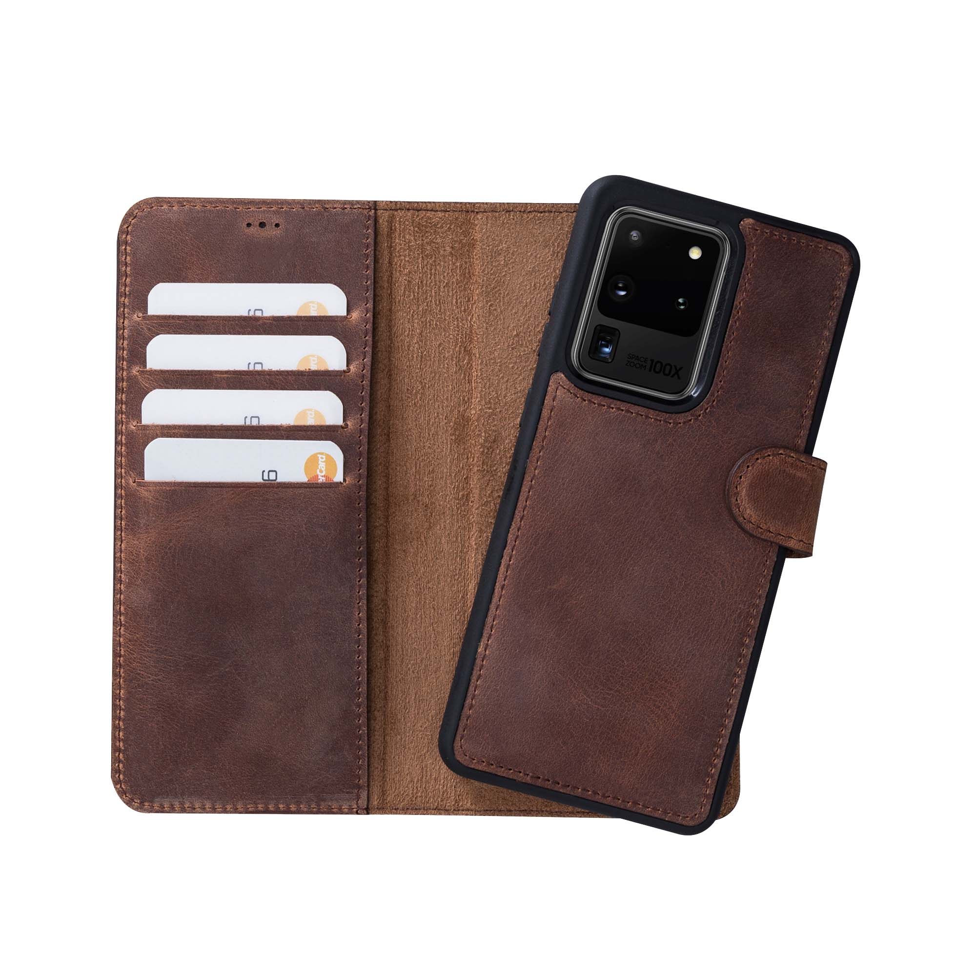 "Magic Magnetic Detachable Leather Wallet Case for Samsung Galaxy S20 Ultra (6.9"") - BROWN - saracleather"