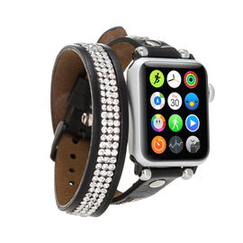 Ferro Double Tour Strap: Full Grain Leather Band for Apple Watch 38mm / 40mm - BLACK - saracleather
