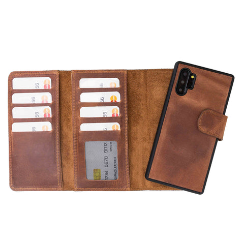 Santa Magnetic Detachable Leather Tri-Fold Wallet Case for Samsung Galaxy Note 10 / Note 10 Plus 5G - BROWN - saracleather