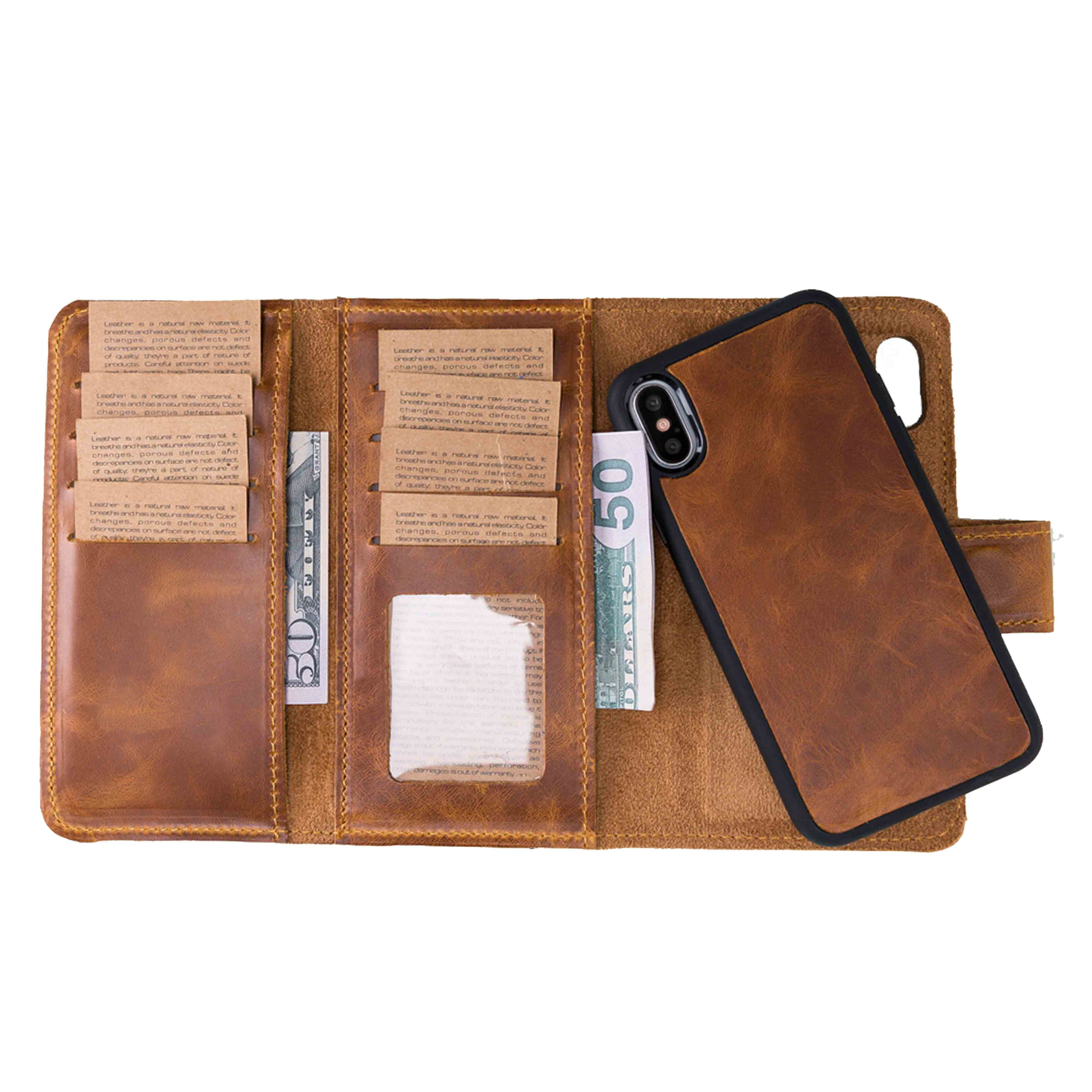 "Santa Magnetic Detachable Leather Tri-Fold Wallet Case for iPhone XS Max (6.5"") - TAN - saracleather"