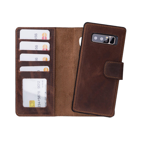 Liluri Magnetic Detachable Leather Wallet Case for Samsung Galaxy Note 8 - BROWN