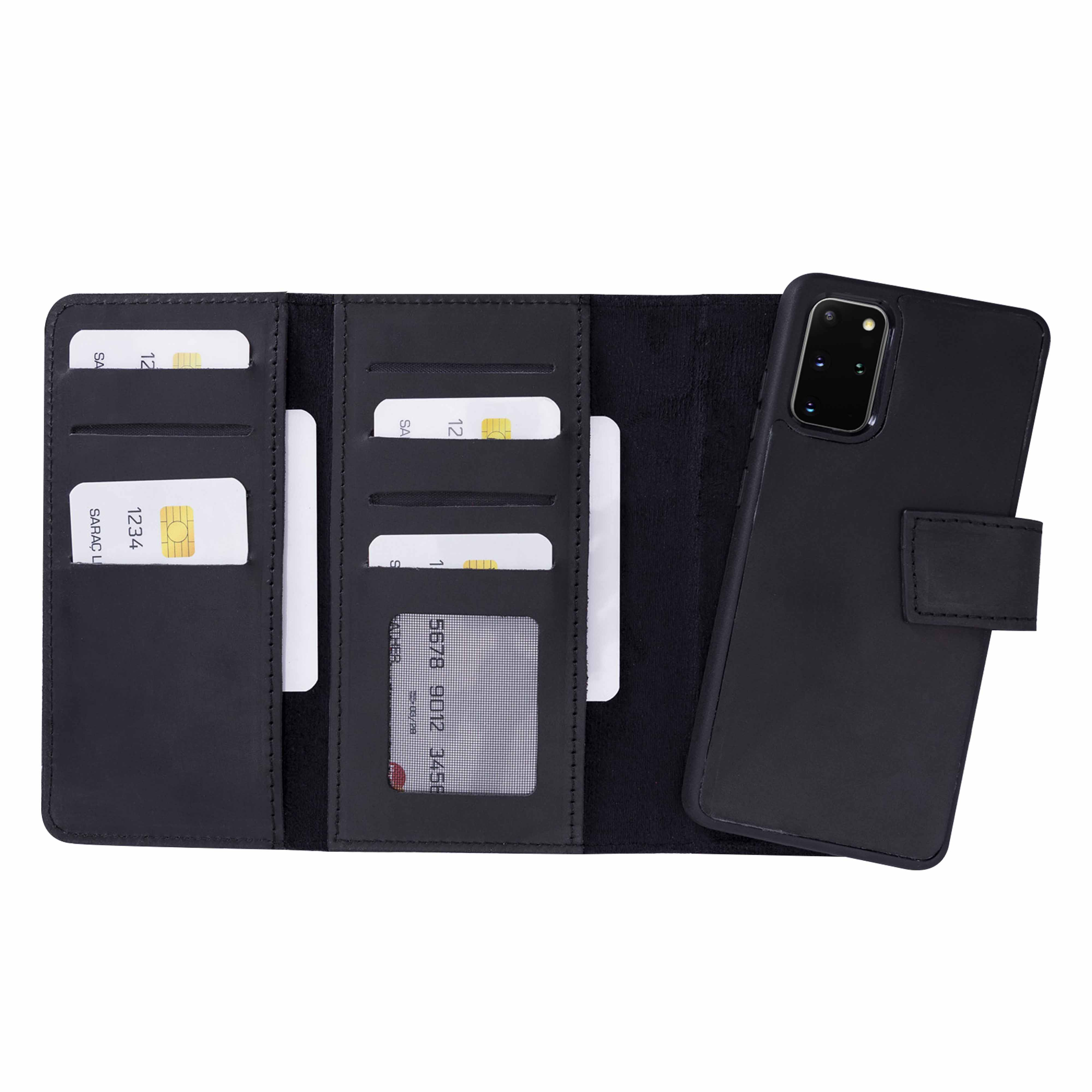 "Santa Magnetic Detachable Leather Tri-Fold Wallet Case for Samsung Galaxy S20 Plus (6.7"") - BLACK - saracleather"