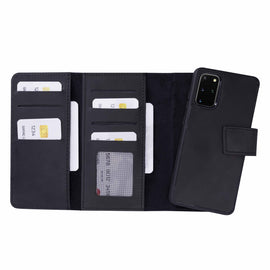 "Santa Magnetic Detachable Leather Tri-Fold Wallet Case for Samsung Galaxy S20 Plus (6.7"") - BLACK"