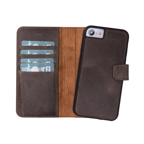 Magic Magnetic Detachable Leather Wallet Case for iPhone 8 / 7 - BROWN