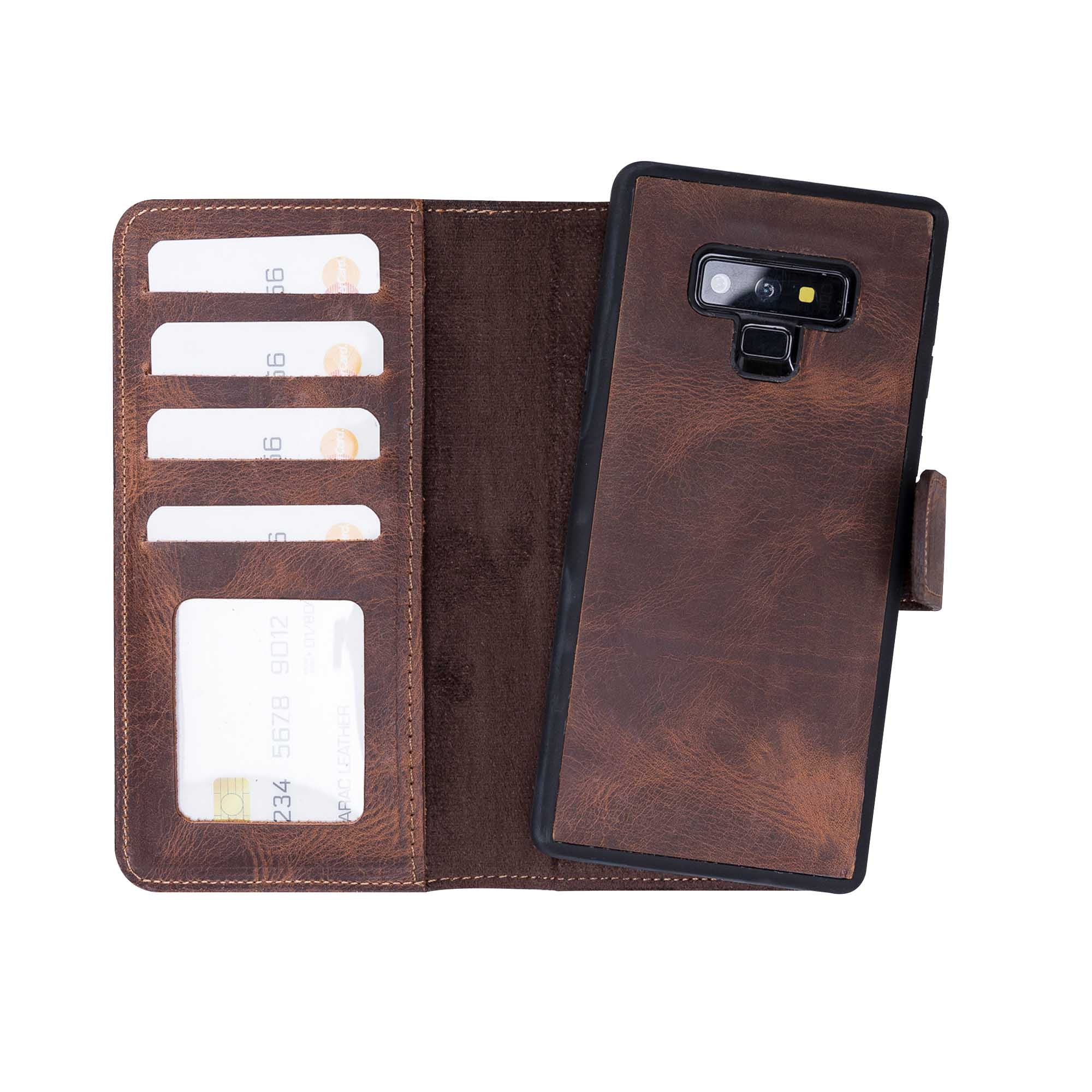 Liluri Magnetic Detachable Leather Wallet Case for Samsung Galaxy Note 9 - BROWN - saracleather
