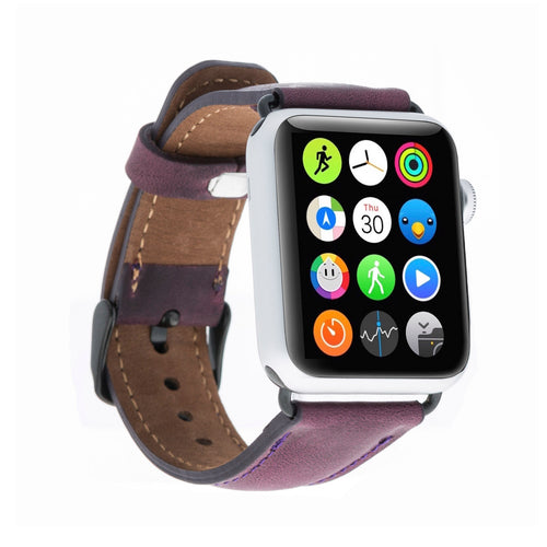 Full Grain Leather Band for Apple Watch 38mm / 40mm - PURPLE - saracleather
