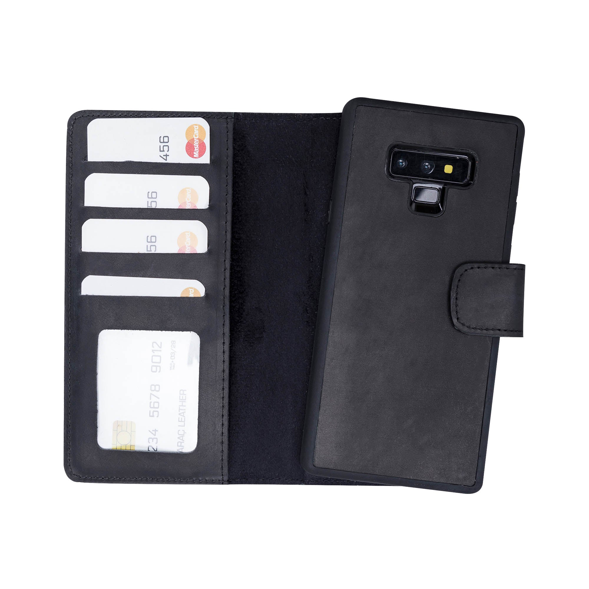 Liluri Magnetic Detachable Leather Wallet Case for Samsung Galaxy Note 9 - BLACK - saracleather