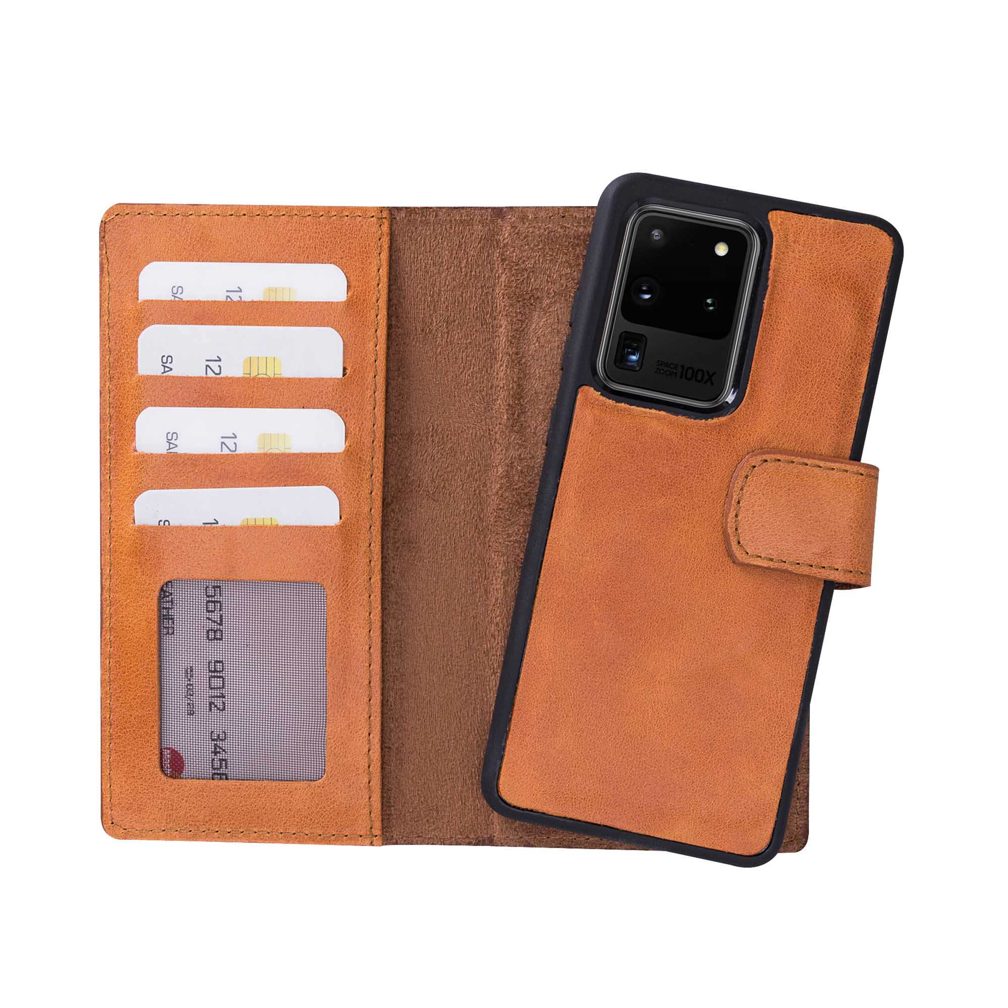 "Liluri Magnetic Detachable Leather Wallet Case for Samsung Galaxy S20 Ultra (6.9"") - TAN - saracleather"