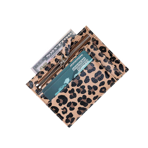 Slim Zipper Leather Wallet - LEOPARD PATTERNED - saracleather