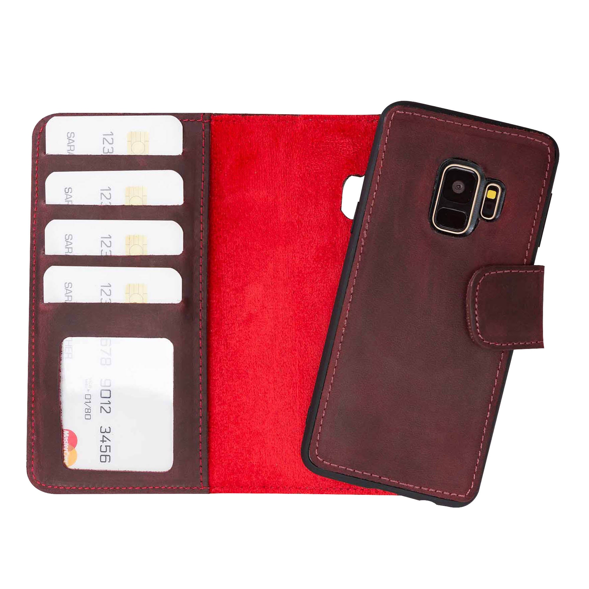 Liluri Magnetic Detachable Leather Wallet Case for Samsung Galaxy S9 - RED - saracleather
