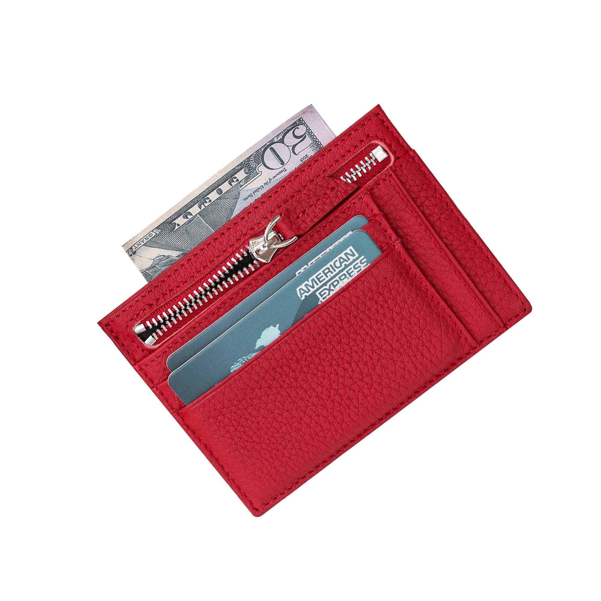 Slim Zipper Leather Wallet - RED