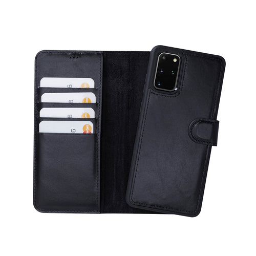 "Magic Magnetic Detachable Leather Wallet Case for Samsung Galaxy S20 Plus (6.7"") - BLACK - saracleather"